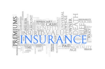 Word tags wordcloud of insurnace
