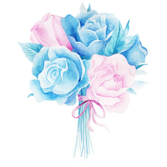 Watercolor illustrations of rose flower isolated on white background.