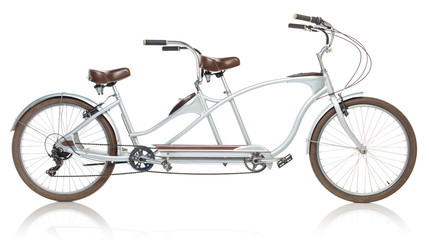 Aluminium Prints Bicycle Retro styled tandem bicycle isolated on a white
