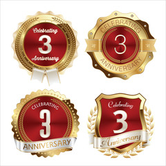 Gold and Red Anniversary Badges 3rd Years Celebration