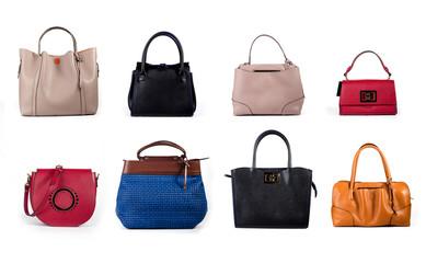 set of leather women handbags isolated on white background