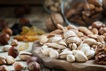 Nuts mix of pistachios, hazelnuts, walnuts and almonds on a wood