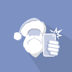 Santa Claus taking selfie with his phone - template