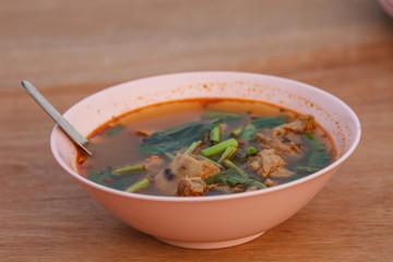 thai food and tom yum pork