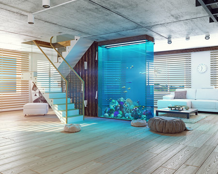 The loft interior with aquarium