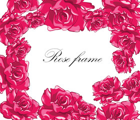 Beautiful Photo Frame with Bright Roses. Vector