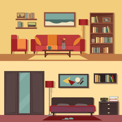 Vector flat illustration banners set abstract isolated for rooms of apartment, house. Home interior design. Parlor, parlour, salon and bedroom modern decoration with paintings, books on the shelves.