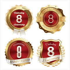 Gold and Red Anniversary Badges 8th Years Celebration