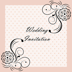 Wedding Invitation with rose ornaments. Vector
