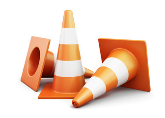Few traffic cones on a white background. 3d render image