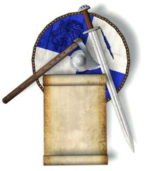 viking shield with sword, axe and parchment scroll on white