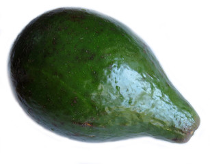 Green avocado on white