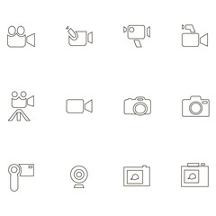 Different icons of video and camera equipment