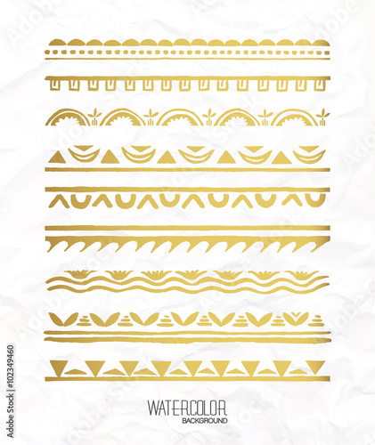 Hand drawn gold borders collection. Decorative elements for your ...