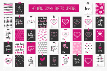 Collection  cards love design. Valentine's day Posters set.
