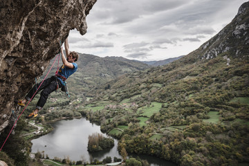 People Practising Climbing in a Rocky Scenery