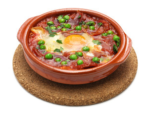 flamenco eggs, huevos a la flamenca, spanish andalusian cuisine