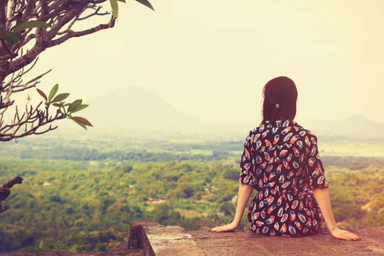 Woman looking on the landscape