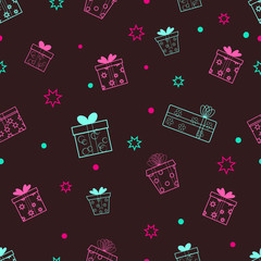 Gift boxes seamless pattern. Suitable for wallpaper, web design or wrapping paper.