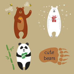Cute bears set. Collection of cartoon vector illustrations of brown bear, polar bear and panda.