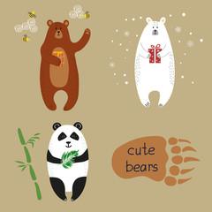 Cute bears set. Collection of cartoon vector illustrations of brown bear, polar bear and panda.