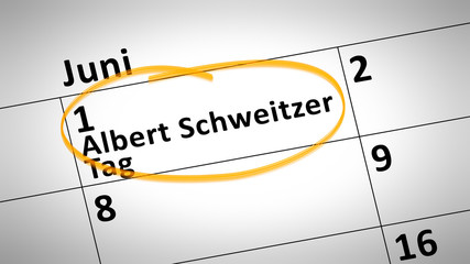 Albert Schweitzer day first of june in german language