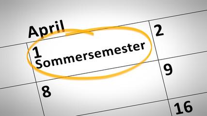 summer semester 1st of april in german language