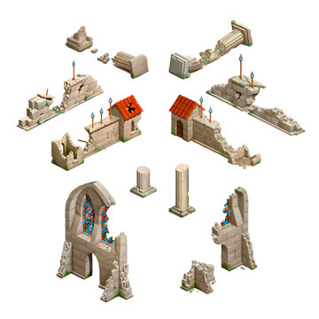 Big set of medieval buildings, isometric game art on white