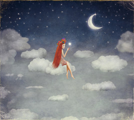 Image of a young woman on cloud,  lit  star  in night sky