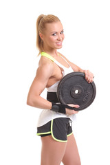 girl with weights of the rod