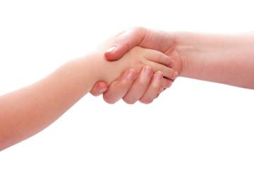 Mama hält Kind die Hand, Hände halten