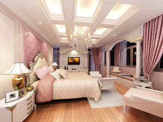 3d rendering of interior luxury  bedroom
