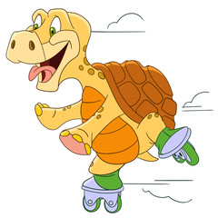 cute funny and happy cartoon turtle is roller-skating at high speed, isolated on a white background