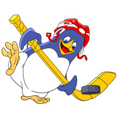 cute happy and sportive cartoon penguin - hockey player with a hockey-stick and protective helmet is trying to score a goal, isolated on a white background