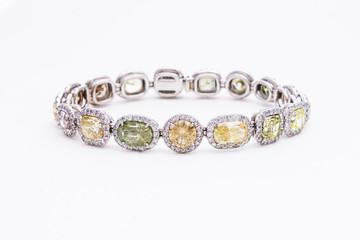 Sparkling Diamond & Gemstone Bracelet in White Gold
