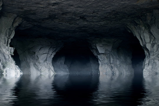 underground river in a dark stone cave