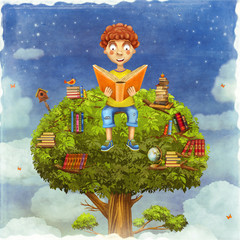 Illustration of  young boy sitting on a tree and reads a book