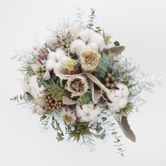 winter wedding bouquet seen from above