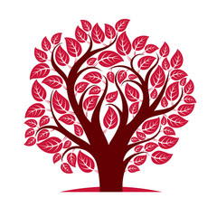 Vector image of single branchy tree, nature concept. Art symbol