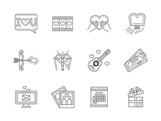 Love flat line vector icons collection