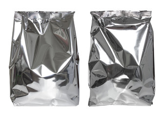 set of foil package bag isolated on white with clipping path
