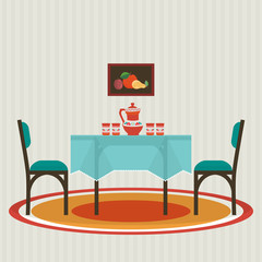 Dining table  with  flowers and chairs . Vector flat style
