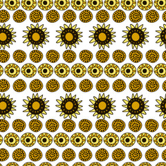 Seamless pattern with sunflowers and suns on white background.