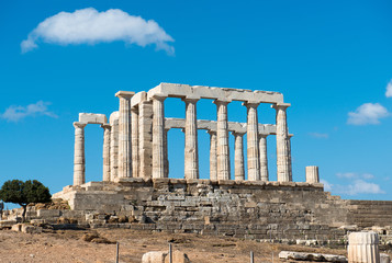 Ancient temple of Poseidon at Cape Sounion. Greece