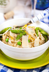 Pasta with asparagus and green peas