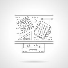 School desk flat line vector icon