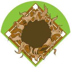Hole Ripping out of Baseball Diamond Vector Cartoon Clip Art