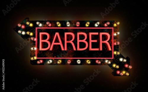 Insegna al neon di un negozio di barbiere lampadine colorate