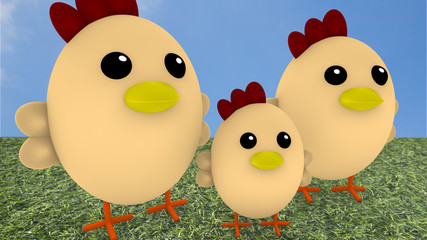 Cute chicken family on gras