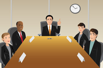 cartoon vector illustration of boardroom members
